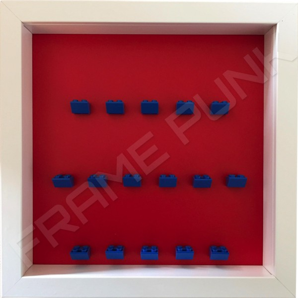 Blue Lego brick formation on red background