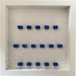 Blue Lego brick formation on white background white frame