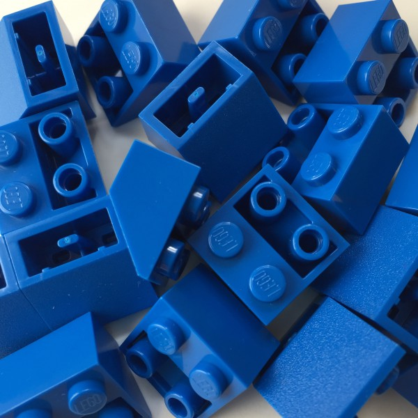 Blue Lego mounting bricks
