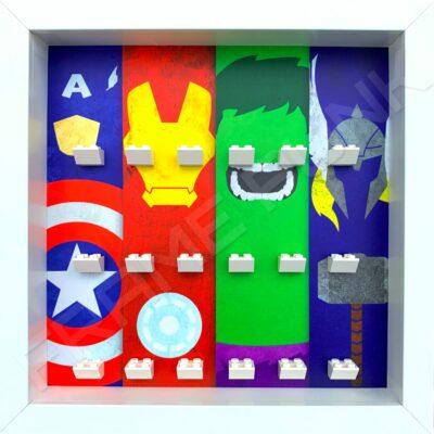 FRAME PUNK display frame compatible with LEGO Marvel Superhero minifigures (White)