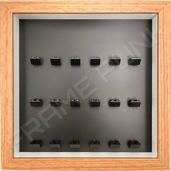 FRAMEPUNK black background and black mounts display frame compatible with 18 Lego minifigures (Oak)