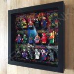LEGO DC Comics minifigure display frame in Black with minifigures Side View