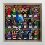 LEGO DC Comics minifigure display frame in White with minifigures
