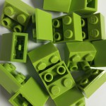 Lime Green Lego mounting bricks