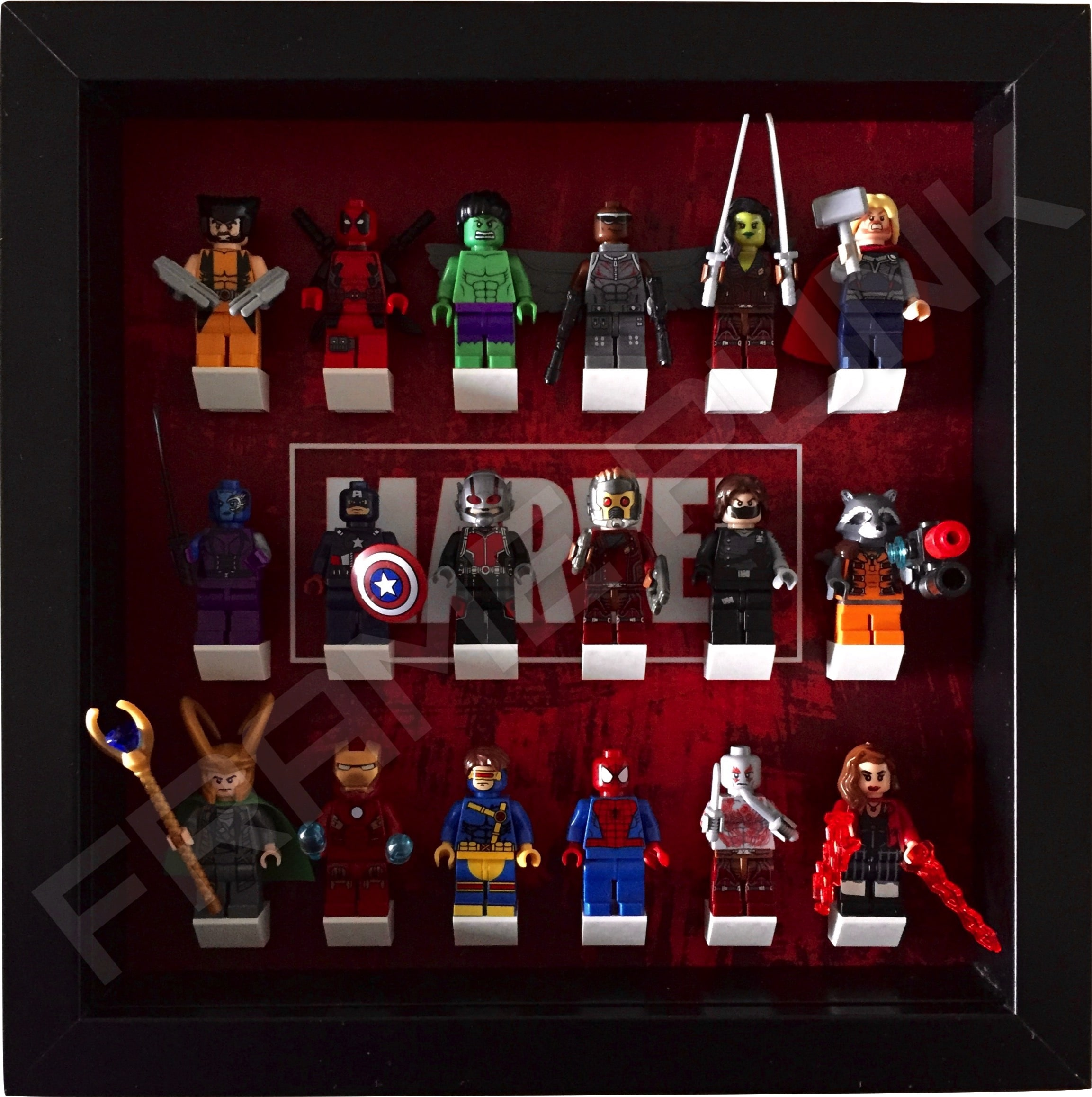 lego marvel minifigure display frame frame punk. Black Bedroom Furniture Sets. Home Design Ideas