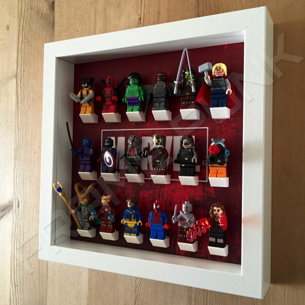Marvel White Frame Display With Minifigures Side View
