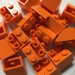 Orange Lego mounting bricks