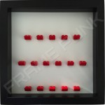Red Lego brick formation on white background
