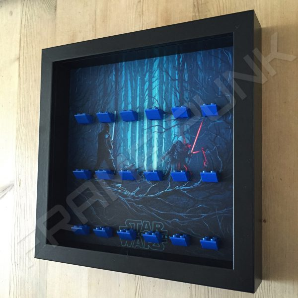 Star Wars - The Force Awakens Blue Lego bricks minifigure display frame Side View