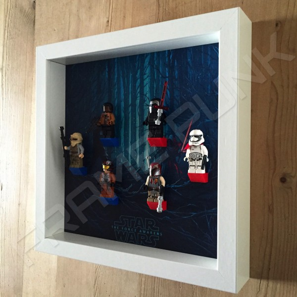 Star Wars - The Force Awakens White Frame Display With Minifigures Side View