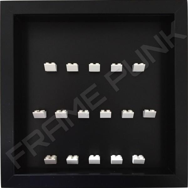 White Lego brick formation on black background
