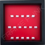 White Lego brick formation on red background