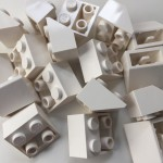 White Lego mounting bricks