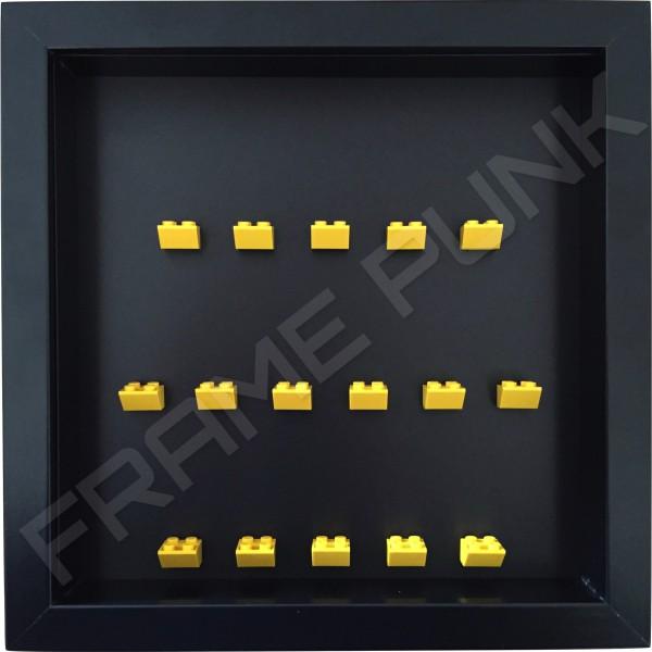 Yellow Lego brick formation on black background