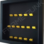 Yellow Lego brick formation on black background side view
