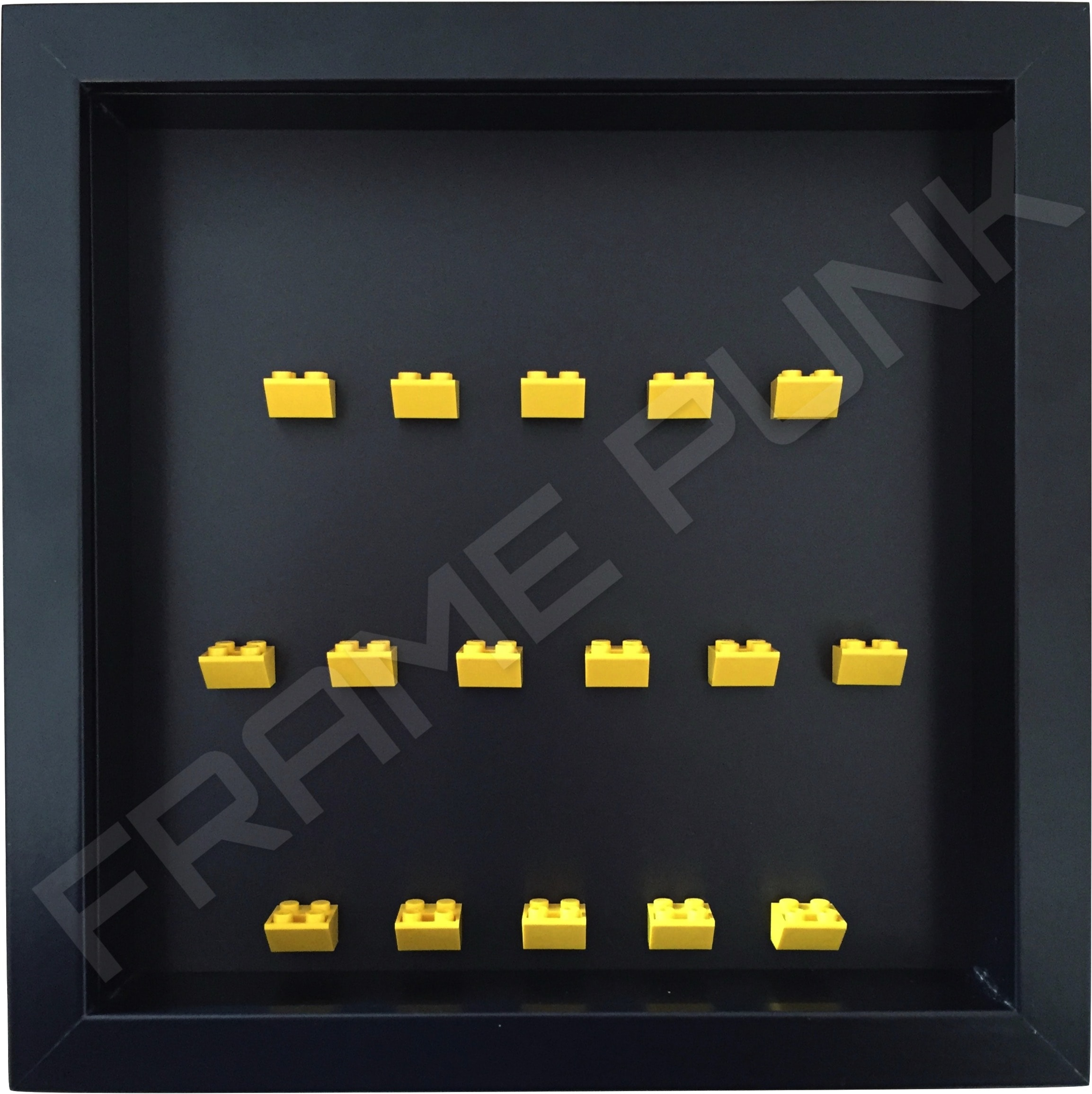 Yellow Lego brick formation on black background