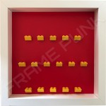 Yellow Lego brick formation on red background