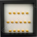 Yellow Lego brick formation on white background