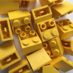 Yellow Lego mounting bricks