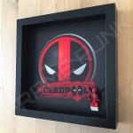 Deadpool Black Frame Display With Deadpool Minifigure Side View