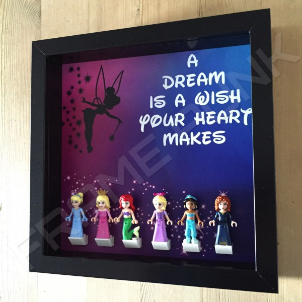 Disney Princess Black Frame Display With Minifigures Side View