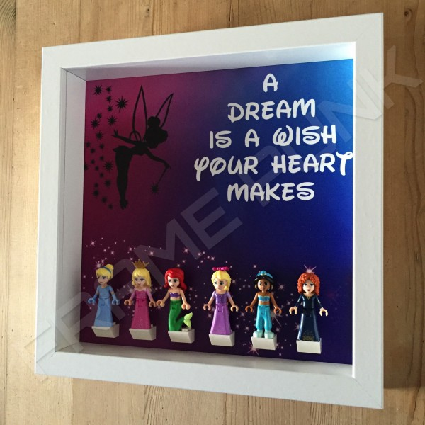 Disney Princess White Frame Display With Minifigures Side View