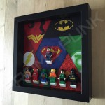 Justice League Black Frame Display With Minifigures Side View
