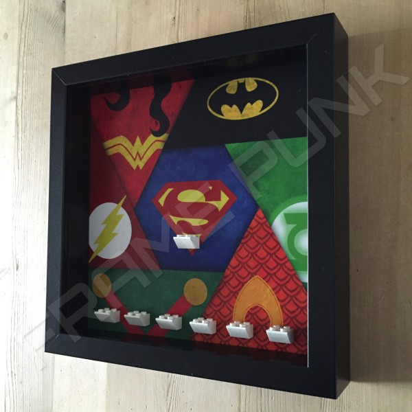 Justice League Black Frame Minifigure Display Side View