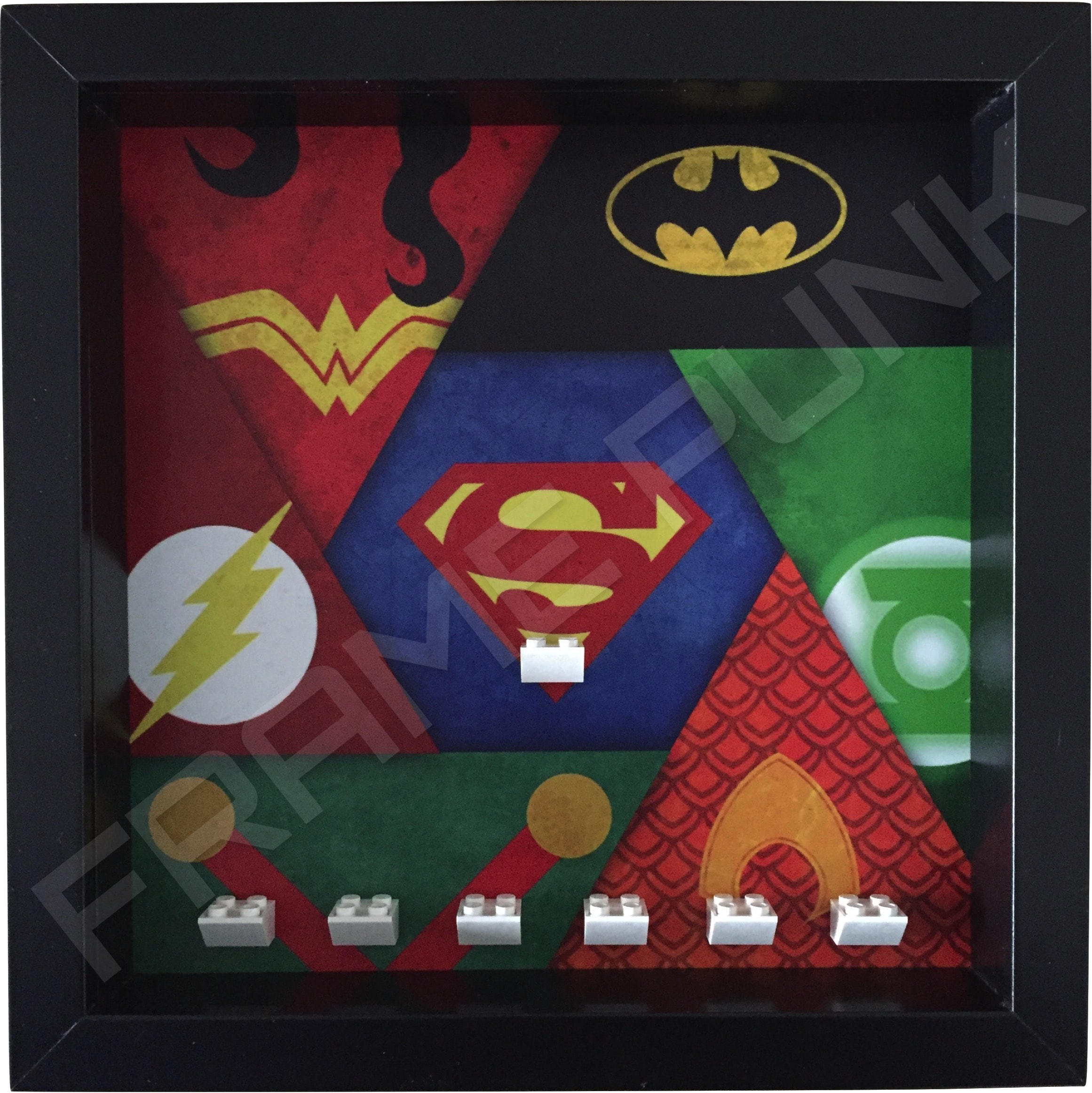 Justice League Black Frame minifigures display