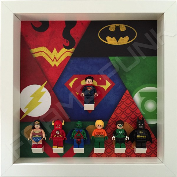 Justice League White Frame Display With Minifigures