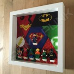 Justice League White Frame Display With Minifigures Side View