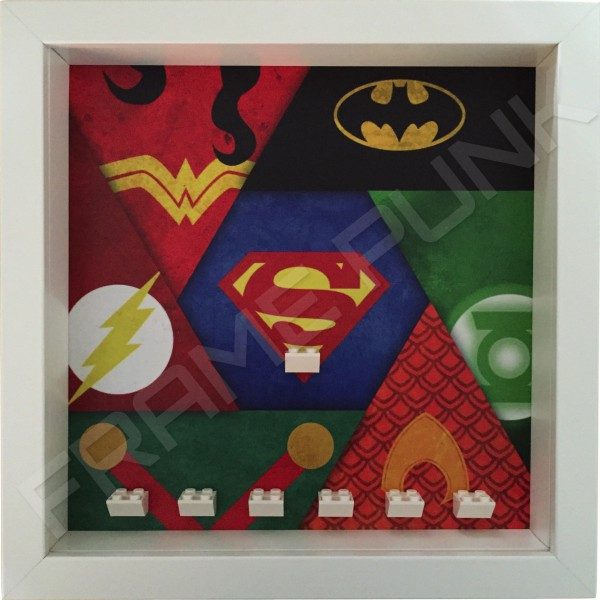 Justice League White Frame minifigures display