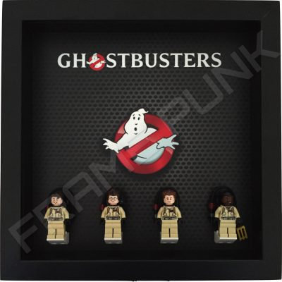 Lego Ghostbusters display frame with minifigures