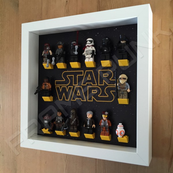 Star Wars White Frame Display With Minifigures Side View