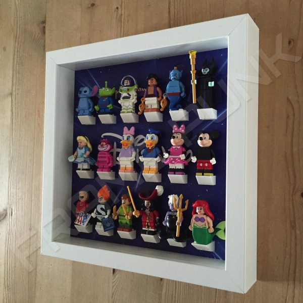 Disney Starry White Frame Lego Display With Minifigures Side View