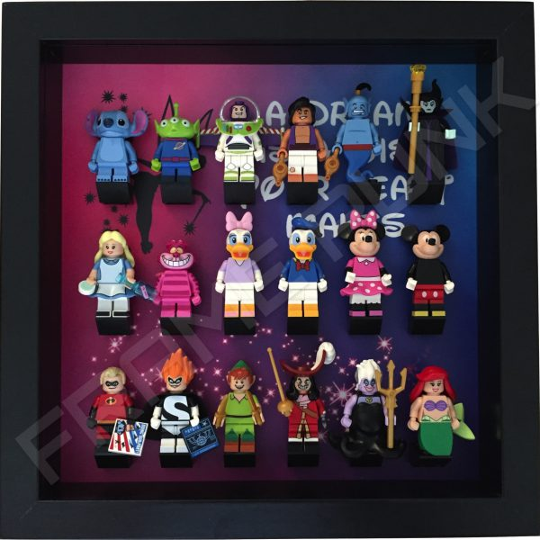 Disney Dream Black Frame Lego Display With Minifigures
