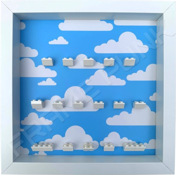 FRAME PUNK display frame compatible with LEGO The Simpsons Minifigures Series 1 & 2 - Clouds (white)