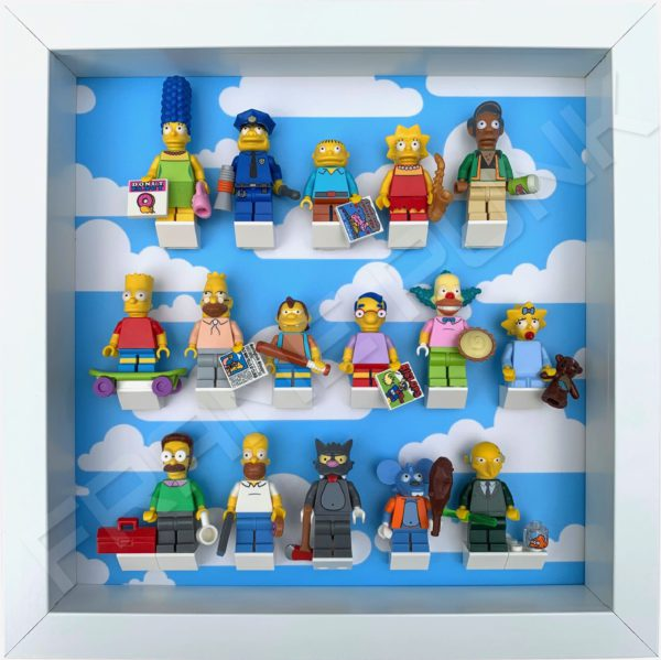 FRAME PUNK display frame compatible with LEGO The Simpsons Minifigures Series 1 & 2 - Clouds (white) with Series 1 minifigures