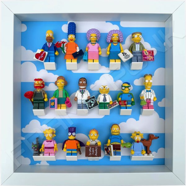 FRAME PUNK display frame compatible with LEGO The Simpsons Minifigures Series 1 & 2 - Clouds (white) with Series 2 minifigures