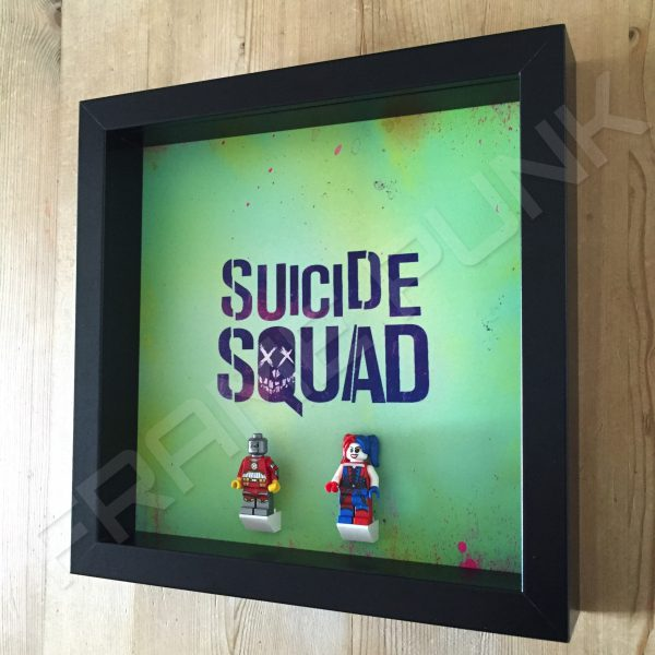 Suicide Squad Black Frame Display With Lego Minifigures Side View