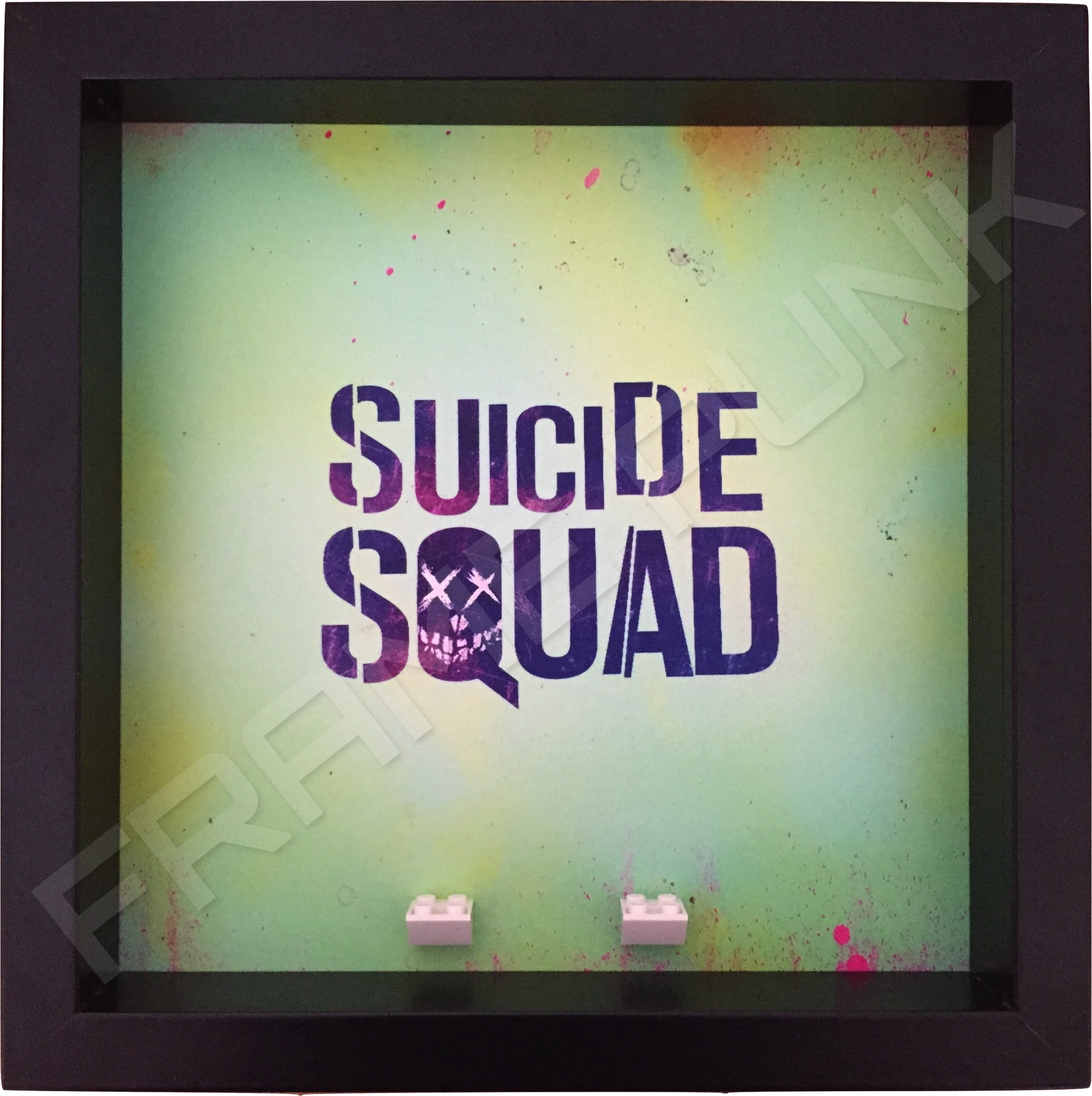 Suicide Squad Black Frame Lego minifigures display