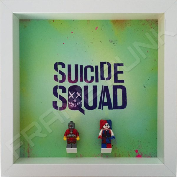 Suicide Squad White Frame Display With Lego Minifigures