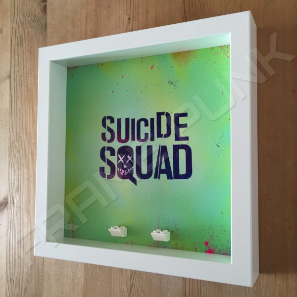 Suicide Squad White Frame Lego minifigures display Side View