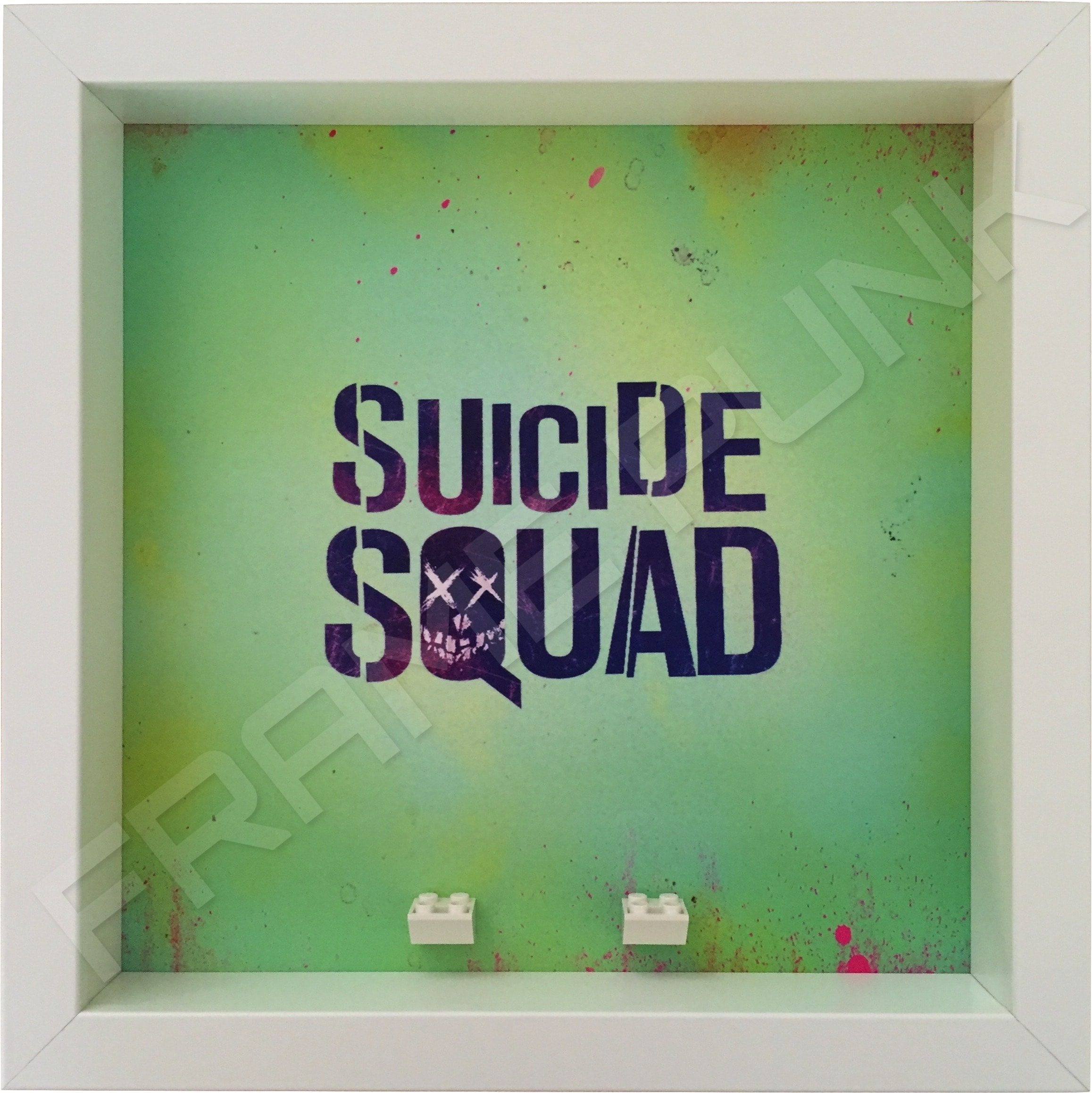 Suicide Squad White Frame Lego minifigures display