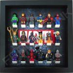 Marvel Steel Black frame display with minifigures