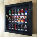Marvel Steel Black frame display with minifigures side view