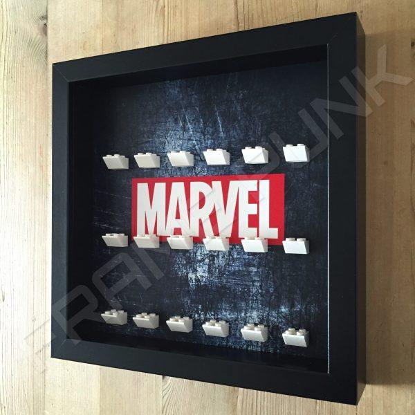 Marvel Steel Black frame lego minifigure display side view