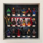 Marvel Steel White frame display with minifigures