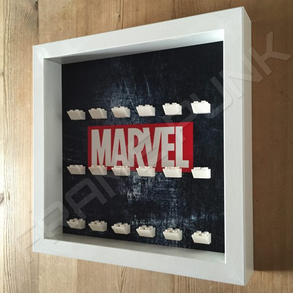 Marvel Steel White frame lego minifigure display side view