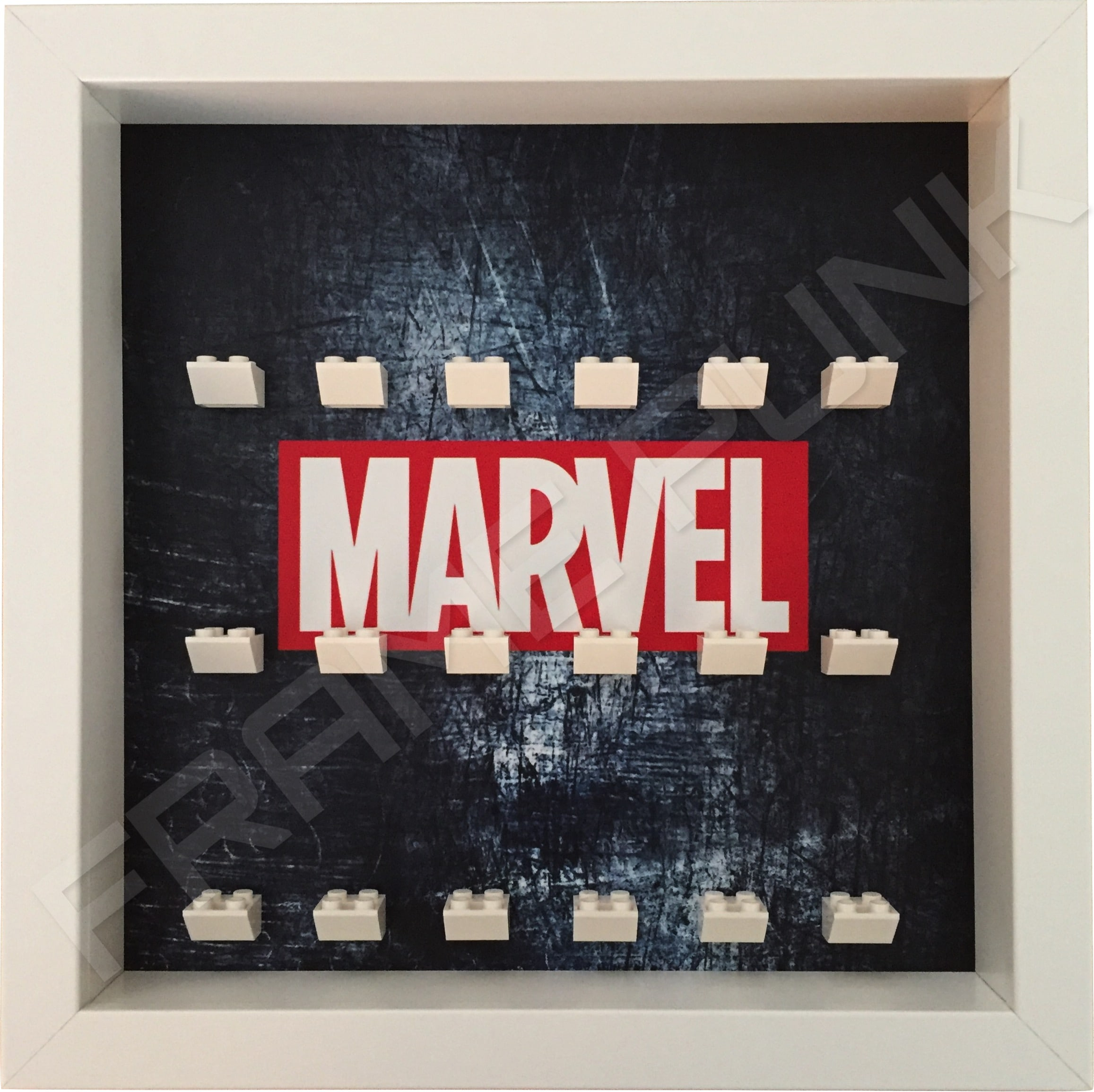 Marvel Steel White frame lego minifigures display